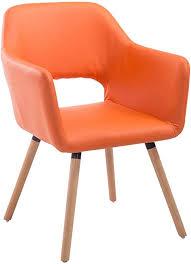 clp esszimmerstuhl auckland mit hochwertiger polsterung und kunstlederbezug i warteraumstuhl mit holzgestell und armlehne farbe orange gestell