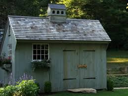 exterior of post and beam pool garden shed tiny houses