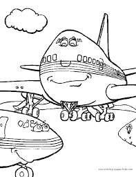 Jumbo Jet Color Page Airplane Transportation Coloring Pages Plate