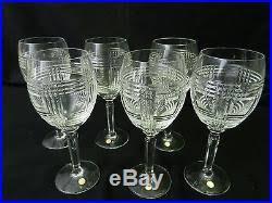 SET x6 RALPH LAUREN GLEN PLAID WINE GLASS CUT CRYSTAL WEDDING