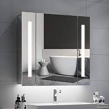 quavikey led spiegelschrank badezimmer spiegelschrank 65x60cm b h aluminium mit beleuchtung lichtspiegelschrank hinterbeleuchtung rasier steckdose