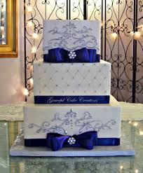 Charming Navy Blue Wedding Cake Decoration Ribbon Beautify The Elegan White Square