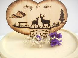 Deer Wedding Cake Topper Hunting Buck And Doe Country Wood Heart Silhouette Rustic Tree Camo Gifts For Couple Custom