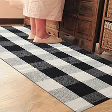 Check Carpet by Black And White Things Pragoo Cotton Rug Hand Woven Checkered