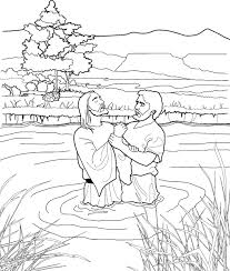 Click The Baptism Of Jesus In River Coloring Pages Printable