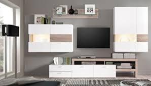 wohnwand monty 351x207x47 cm weiß hochglanz eiche trüffel schrankwand wohnzimmerschrank vitrine wandschrank wandboard tv board led beleuchtung