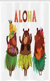 abakuhaus duschvorhang badezimmer deko set aus stoff mit haken breite 120 cm höhe 180 cm insel lustige bären in hawaii kaufen otto