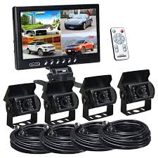 100 Truck Camera System 9 Inch Quad Split Screen Monitor And Backup Car Rear View Camera