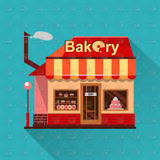 Bakery building with cakes donuts and pies Royalty Free Vector Clip Art