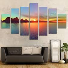 2017 oil painting wall decor art canvas 7 panels beautiful sunset