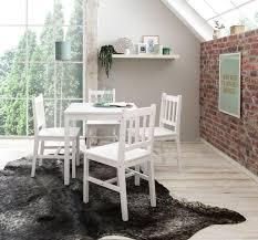 esszimmer set emil 5 teilig kiefer holz weiß landhaus stil 70 x 73 x 70 cm natur essgruppe 1 tisch 4 stühle esstischset tischgruppe 4 personen