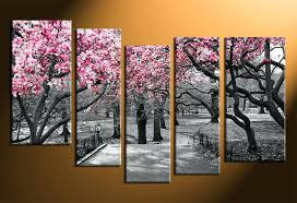 Large Panel Wall Art 5 Piece Canvas Home Decor Scenery Huge Pictures Black And
