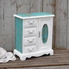 Jewelry Box Armoire Shabby Chic Rustic Beach Decoupage Turquoise