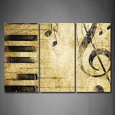 Note And PianoS Keys In The Paper Wall Art Painting Pictures Print On Canvas Music