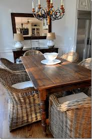 Amazing The Plain Wood Table Wicker Chairs Rustic Farm And Formal Rattan Dining Room Plan
