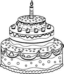 Birthday Cake Coloring Pages Printable Tiered To Print
