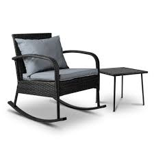 Buy Gardeon Outdoor Furniture Rocking Chair Table Wicker Garden ... Wicker Rocking Chair Grey At Home Windsor Black Rocker And End Table Set With Patio Resin Steel Frame Outdoor Porch Noble House Harmony With White 3pc Cushion Good Looking Glider Big Plans Sw Chairs Lounge Dark Brown Amazoncom Cloud Mountain 3 Piece Bistro Decorating Rockers Gliders Coral Coast Casco Bay