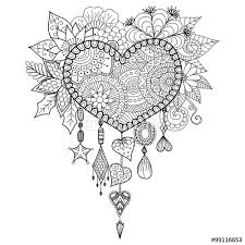 Vector Hand Drawn Heart Shape Floral Dream Catcher For Coloring Book Adult Or Decorations Valentines Day
