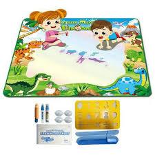 Tapis Coloriage Magnetic Planche à Dessin Peinture Enfants Créativité Eau Toile Jouet Dinosaure Motif 90 78c