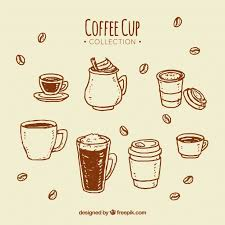 626x626 Brown Hand Drawn Coffee Cup Collection Vector Free Download