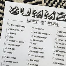 Printable Summer Bucket Lists 2016