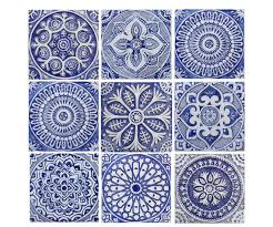 Outdoor Wall Art SET OF 9 TILES Garden Decor Ceramic Tiles