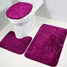 3stück badteppich toilettendeckel bezug badezimmer vorleger