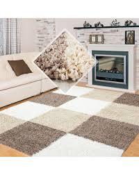langflor hochflor wohnzimmer shaggy teppich kariert weiss braun beige größe 60x110 cm