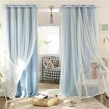nibesser vorhänge kinderzimmer mädchen gardinen blickdicht babyrosa sterne aushöhlen schlafzimmer kinder doppelschicht vorhänge blau 1 stück