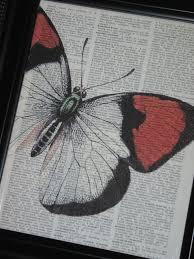 Dictionary Art Print Book Page Butterfly 8 X 10 Upcycle Wall Vintage 800