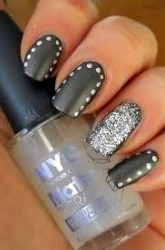 Dark Grey Glitter Matte nail Art TTumblr inspiring picture on