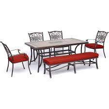 Hanover Monaco 6-Piece Patio Dining Set In Red With Four Dining Chairs, 1  Bench, And A 40 Four Ding Chairs In Stain Beech Teak Upholstered With Black Leatherette Art Nouveau Or Deco Shield Back Antique Ding Chairs Set Of Vintage Four By Helge Sibast For Early 19th Century Round Bdmeier Table Moes Home Collection Calvin Sadlers Johannes Andersen Denmark Circa 1950 Victorian Walnut The Shop Fashionchrystal Setfour Includedtransparent 5 Pc Counter Height Room Setpub And 4 East West Fniture Mid Modern Lawrence Peabody