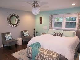 Teal And Grey Master Bedroom With Chevron