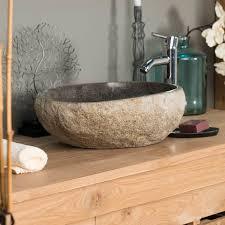 vasque à poser en naturelle galet de riviere 40 cm 293