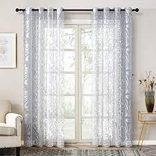 topfinel gardinen ausbrenner mit ösen und blumen mustern voile vorhänge für wohnzimmer 2er set je 245x140cm hxb silber