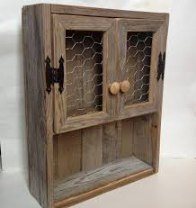 Charming Rustic Cabinet Reclaimed Wood Shelf Chicken Wire Decor Bathroom In Wall Cabinets