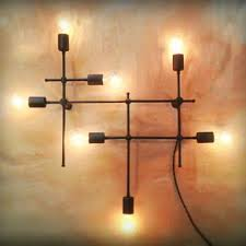 industrial grid wall sconce bare edison bulbs by