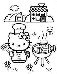 Hello Kitty Cooking A Barbecue