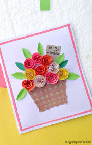 Roses Valentines Day Card Flower Basket Paper Craft For Kids To Make