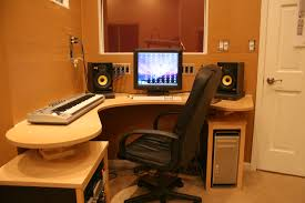 Simple Home Music Studio Design With L Shape Wooden Desk Computer And Yellow Wall Color Idea