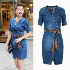 2018 Summer Women Denim Dress Blue Vintage Style Short Sleeve V Neck Slim Fit Casual Jeans Vestido Female Cowboys Dresses In From Womens