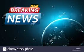 Breaking News Live Abstract Futuristic Background With A Glowing Blue Planet Earth Technology And Business On TV Many Stars In Dark Space Ve
