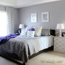 Lavender And Grey Bedding by Grey Bedroom With Purple Accent Wall Room Hdrifles Co Decor Ideas