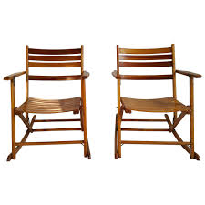 Telescope Patio Furniture Granville Ny by Pair Of Modernist Folding Slatted Rocking Chairs By Telescope