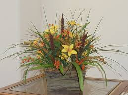 Rustic Floral Arrangement Silk Flower Centerpiece Lilies And Cattails