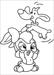 Baby Looney Tunes Playing With A Puppy Coloring Pages For Kids Printable