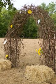 Make The Arbor Like This With Placement Of Flowers From Other Hay Bales In Front Rustic Wedding Arch Made Out Grape Vine