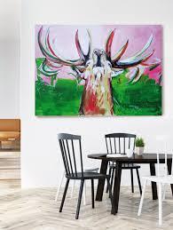 kunstdruck brunftzeit hirsch bild auf leinwand atelier stefanie rogge