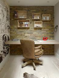 View In Gallery Home Office With Brick Wall Custom Wooden Shelves And Comic Strip Styled Art