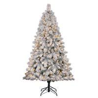 Product Image Home Heritage Cascade 7 Pine White Flocked Artificial Christmas Tree W Lights